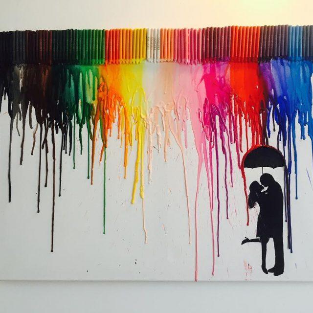 Art Self Made! art crayons color rain umbrella kiss lovehellip